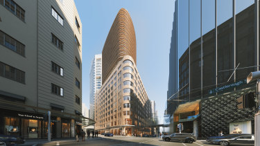 Scentre and Cbus Property have lodged plans to transform David Jones' old menswear store into luxe retail and apartments.