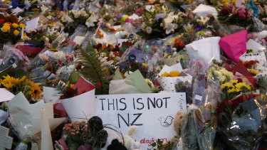 Flowers at a memorial in Christchurch for the victims of last month's terrorist attack.