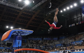 Simone Biles performs on the vault before her withdrawal.