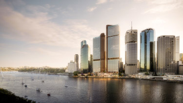 Waterfront Brisbane includes two towers of 49 and 43 floors on the Eagle Street Pier site.