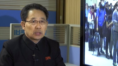 North Korea's Ministry of Health Director Kim Dong Gun talks about the country's efforts to contain the spread of the new coronavirus.