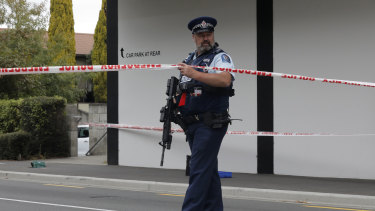 A police officer stands guard near the Masjid Al Noor mosque in Christchurch.