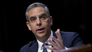 David Marcus, head of blockchain with Facebook, speaks during a Senate Banking Committee hearing in Washington, DC.