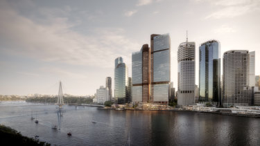 A design render of the two-tower Waterfront Brisbane project.