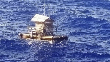 The wooden fish trap on which Aldi Novel Adilang spent 49 days adrift.