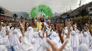 Performers from the Unidos da Tijuca samba school parade on Monday, local time.
