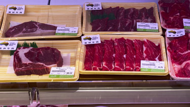 Beef labelled from Australia on sale at a supermarket in Beijing. China has stirred controversy with claims it has detected the coronavirus on packages of imported frozen food.