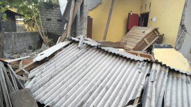 Damage caused by an early morning earthquake on the Indonesian island of Lombok.