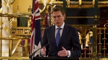 Attorney-General Christian Porter released the draft religious discrimination bill at the Great Synagogue in Sydney in August.