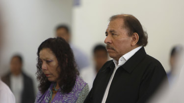 Nicaraguan President Daniel Ortega, right, and Vice-President and first lady Rosario Murillo.