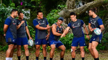 Banter: The Wallabies are staying relaxed ahead of their last match on home soil before the World Cup against Samoa.