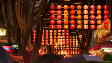 Lanterns light up Dixon Street in Chinatown for Lunar New Year.