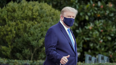 Trump leaves the White House for Walter Reed Hospital.