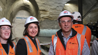 Premier Gladys Berejiklian and Transport Minister Andrew Constance at the site of a metro train station last year.
