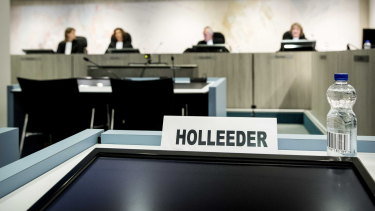 A sign with the name of Willem Holleeder in the heavily secured 'Bunker' in Amsterdam prior to the verdict.