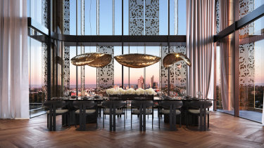 A penthouse dining room.