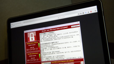 A screenshot of the warning screen from a WannaCry attack, as captured by a computer user in Taiwan.