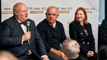 Jeff Morris (Left), John Williams and Adele Ferguson at The Age reader event.
