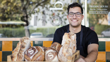 Silo Bakery manager Aidan Fallace with bread outside the Kingston bakery. In the final quarter of 2018, bread was 7.9 per cent cheaper on average in Canberra than it was in mid-2011.