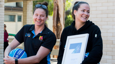 Kelsey Griffin and Keely Froling on hand as the Canberra Capitals are announced as 2019 Canberra Citizen of the year.