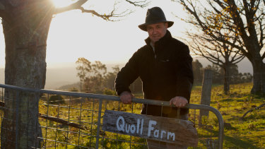 Filmmaker Simon Plowright at Quoll Farm.
