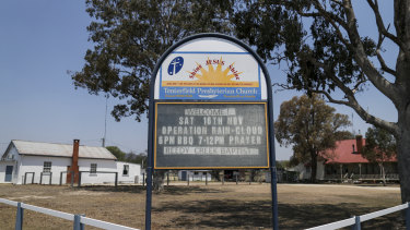 A church sign promoting Operation Rain-Cloud in Tenterfield.