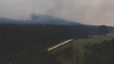 The fire at Pierces Creek, near Canberra.