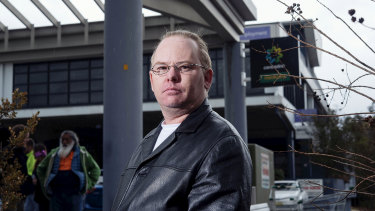 """""""The whole system is flawed from the ground up"""": Robert Turner outside Mount Druitt Centrelink."""
