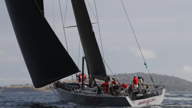 Wild Oats XI sailing towards the finish line on Friday.
