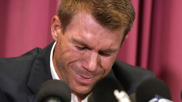 An emotional David Warner apologised for his behaviour.