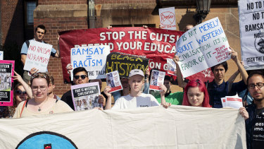 Sydney University students protesting against the Ramsay Centre.