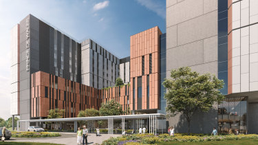 An artist's impression of the planned Acute Services Building at Prince of Wales Hospital at Randwick.