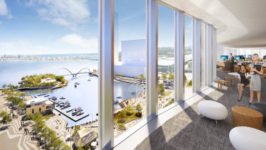 An artist's impression of the view from an office inside Brookfield's Chevron development at Elizabeth Quay.