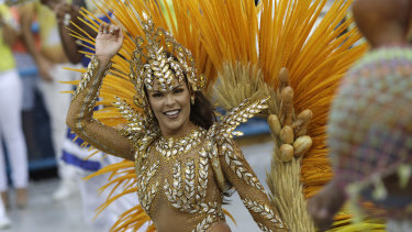 Drum queen Elaine Azevedo from the Unidos da Tijuca samba school performs during Carnival at the Sambadrome on Monday.