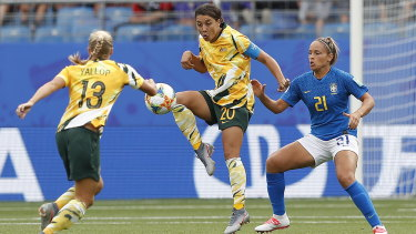 Sam Kerr in the stunning victory against Brazil.