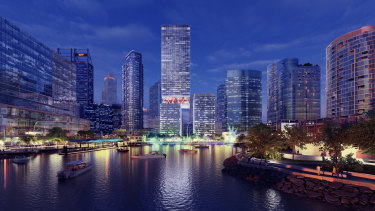 Artist's impression of the proposed towers at Elizabeth Quay.