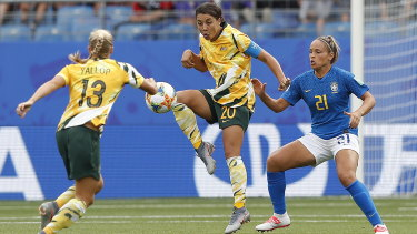 """Suck on that one"" ... Sam Kerr in the victory against Brazil."