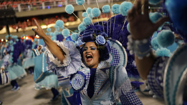 A performer from the Imperatriz Leopoldinense samba school parades during Carnival celebrations at the Sambadrome on Monday, local time.