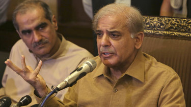 Shahbaz Sharif, brother of Pakistan's former prime minister Nawaz Sharif, who now heads the Pakistan Muslim League, addresses a news conference in Lahore.