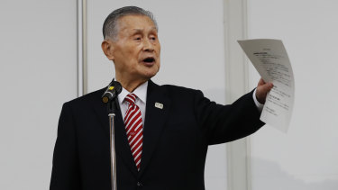 Yoshiro Mori speaking at a news conference in Tokyo on February 4.