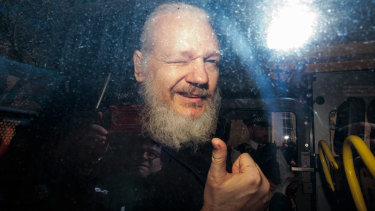 Julian Assange pictured as he arrived at a British court in April.