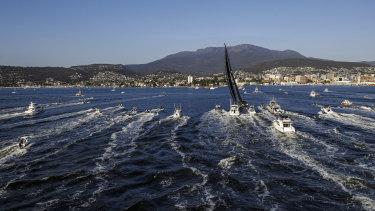 Last year's line honours winner Comanche arrives in Hobart.