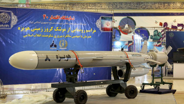 This picture released by the official website of the Iranian Defence Ministry on Saturday shows a Hoveizeh cruise missile at the Imam Khomeini grand mosque in Tehran, Iran.