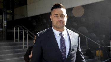 Jarryd Hayne leaves court on Tuesday.