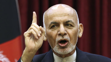 Afghan President Ashraf Ghani at a news conference in Kabul.