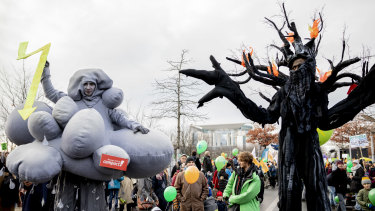 Thousands of people march in Berlin in December to demand that Germany make a quick exit from coal-fired energy.