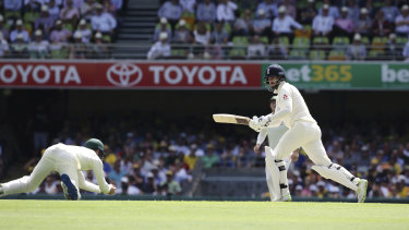 Cameron Bancroft snares England's James Vince at short leg in the last Ashes series.