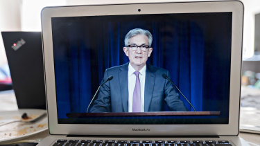 US Fed Chairman Jerome Powell speaking at an online news conference after the central bank said it would hold the benchmark interest rate near zero.