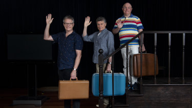 Time to say goodbye: Jonathan Biggins, Drew Forsythe and Phillip Scott are rehearsing their 20th and final revue with Sydney Theatre Company.