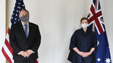 US Secretary of State Mike Pompeo and Australian Foreign Minister Marise Payne pose for a photo prior to their bilateral meeting in Tokyo.